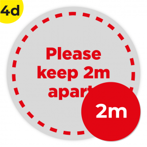4D 2m Circle Floor Graphic Social Distance Sign RED 200cm Coronavirus (COVID-19)