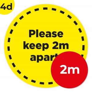 4D 2m Circle Floor Graphic Social Distance Sign YELLOW with Black Text 200cm Coronavirus (COVID-19)