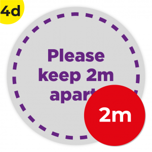 4D 2m Circle Floor Graphic Social Distance Sign PURPLE 200cm Coronavirus (COVID-19)
