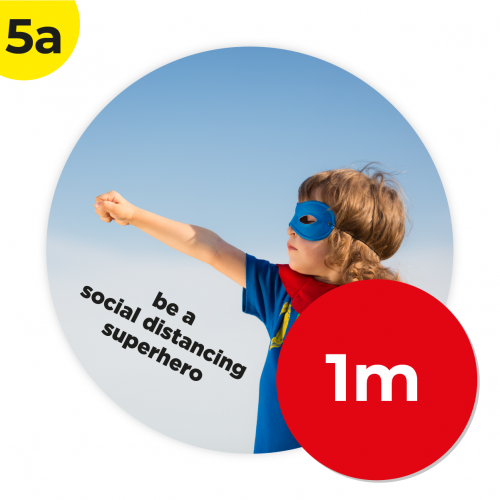 5A 1m Circle Floor Graphic Social Distance Sign SUPER HERO 100cm Coronavirus (COVID-19)
