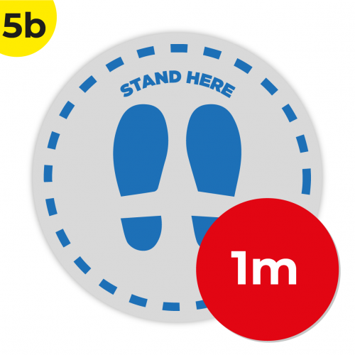 5B 1m Circle Floor Graphic Social Distance Sign DARK BLUE 100cm Coronavirus (COVID-19)