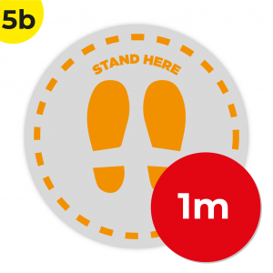 5B 1m Circle Floor Graphic Social Distance Sign ORANGE 100cm Coronavirus (COVID-19)
