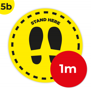 5B 1m Circle Floor Graphic Social Distance Sign YELLOW with Black Text 100cm Coronavirus (COVID-19)