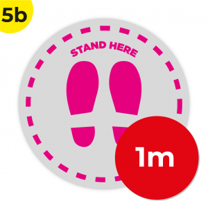 5B 1m Circle Floor Graphic Social Distance Sign PINK 100cm Coronavirus (COVID-19)