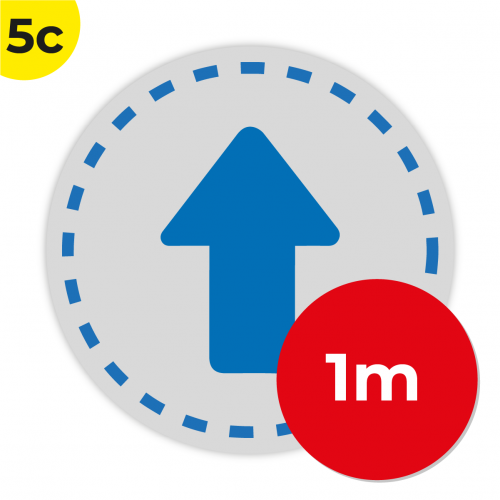 5C 1m Circle Floor Graphic Social Distance Sign DARK BLUE 100cm Coronavirus (COVID-19)