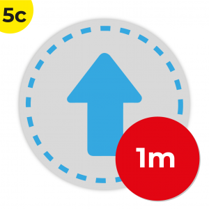 5C 1m Circle Floor Graphic Social Distance Sign LIGHT BLUE 100cm Coronavirus (COVID-19)