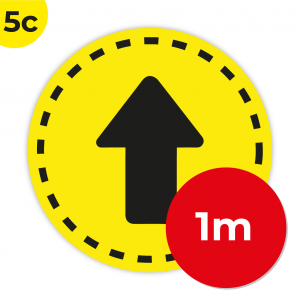 5C 1m Circle Floor Graphic Social Distance Sign YELLOW with Black Text 100cm Coronavirus (COVID-19)