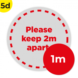 5D 1m Circle Floor Graphic Social Distance Sign RED 100cm Coronavirus (COVID-19)