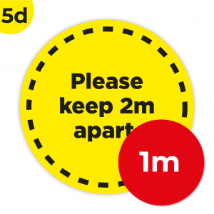 5D 1m Circle Floor Graphic Social Distance Sign YELLOW with Black Text 100cm Coronavirus (COVID-19)