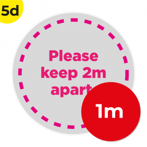 5D 1m Circle Floor Graphic Social Distance Sign PINK 100cm Coronavirus (COVID-19)