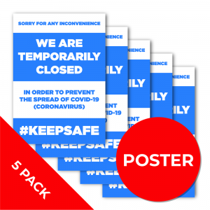 11B5PK A2 POSTER 5 PACK Social Distance Sign RED A2 Coronavirus (COVID-19)