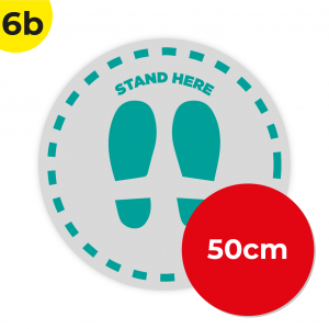 6B 50cm Circle Floor Graphic Social Distance Sign TEAL 50cm Coronavirus (COVID-19)