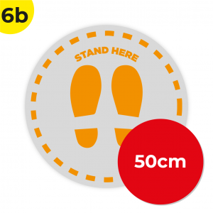 6B 50cm Circle Floor Graphic Social Distance Sign ORANGE 50cm Coronavirus (COVID-19)