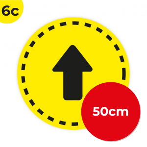 6C 50cm Circle Floor Graphic Social Distance Sign YELLOW with Black Text 50cm Coronavirus (COVID-19)