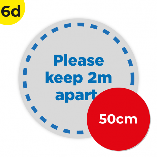 6D 50cm Circle Floor Graphic Social Distance Sign DARK BLUE 50cm Coronavirus (COVID-19)