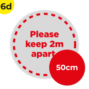 6D 50cm Circle Floor Graphic Social Distance Sign RED 50cm Coronavirus (COVID-19)