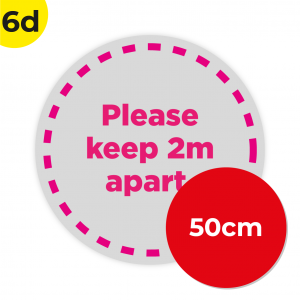 6D 50cm Circle Floor Graphic Social Distance Sign PINK 50cm Coronavirus (COVID-19)