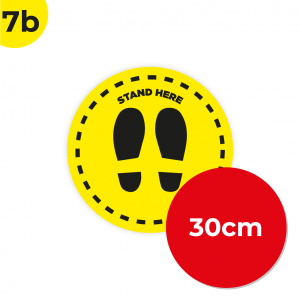 7B 30cm Circle Floor Graphic Social Distance Sign YELLOW with Black Text 30cm Coronavirus (COVID-19)