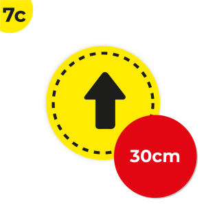 7C 30cm Circle Floor Graphic Social Distance Sign YELLOW with Black Text 30cm Coronavirus (COVID-19)