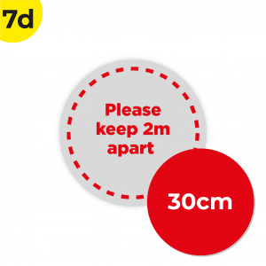 7D 30cm Circle Floor Graphic Social Distance Sign RED 30cm Coronavirus (COVID-19)