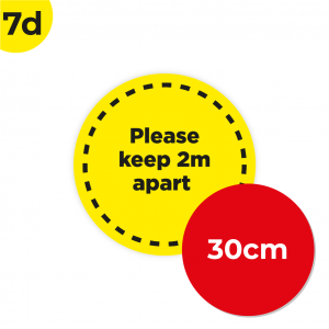 7D 30cm Circle Floor Graphic Social Distance Sign YELLOW with Black Text 30cm Coronavirus (COVID-19)