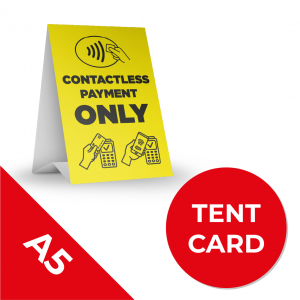 8A A5 TENT CARS Social Distance Sign YELLOW with Black Text A5 Coronavirus (COVID-19)