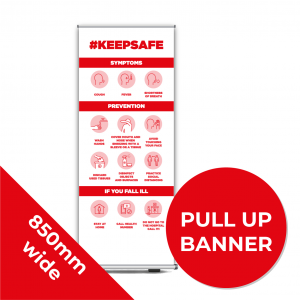 9B PULL UP BANNER Social Distance Sign RED 85cm W X 200cm H Coronavirus (COVID-19)