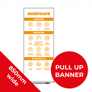 9B PULL UP BANNER Social Distance Sign ORANGE 85cm W X 200cm H Coronavirus (COVID-19)