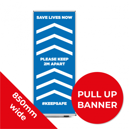9C PULL UP BANNER Social Distance Sign DARK BLUE 85cm W X 200cm H Coronavirus (COVID-19)