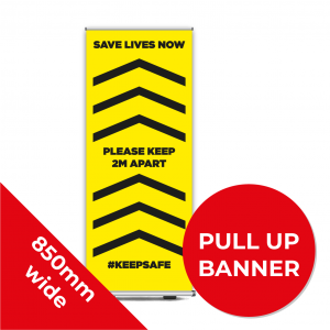 9C PULL UP BANNER Social Distance Sign YELLOW with Black Text 85cm W X 200cm H Coronavirus (COVID-19)